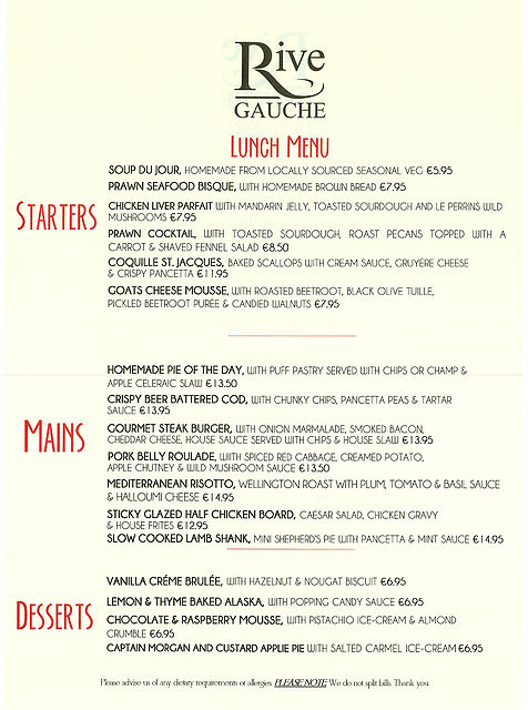 Rive Gauche Lunch Menu in Kilkenny